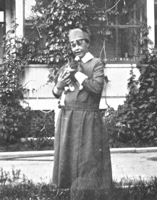 Sister Catherine Donnelly holds a cat