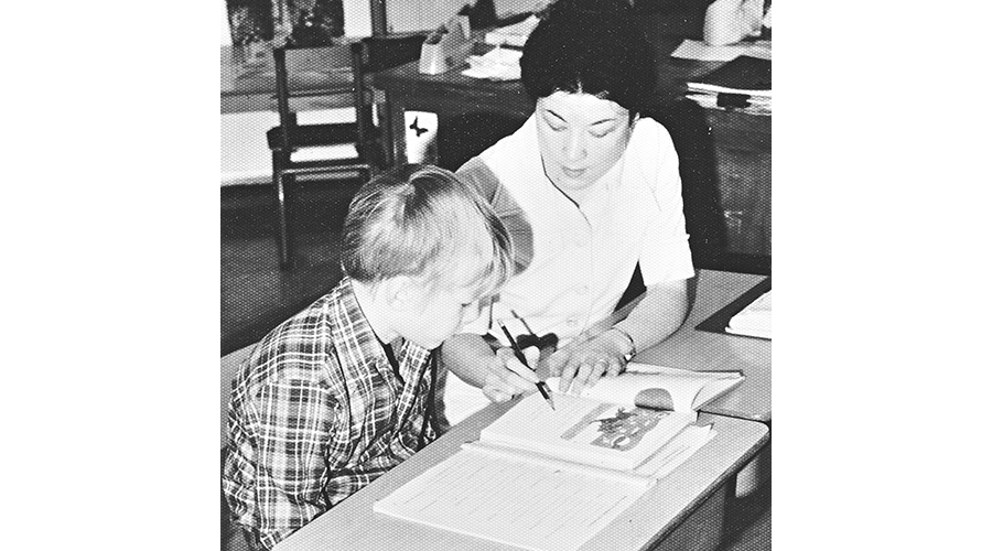 Sister Colleen Young with student