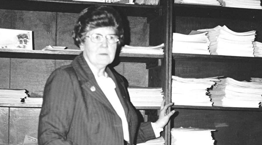 Sister Hearn in Clarenville office