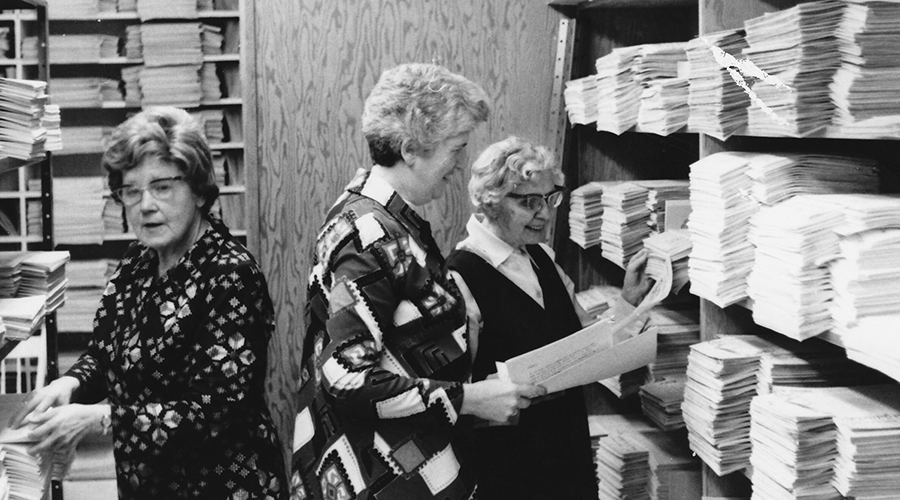Sisters in Daly Centre storeroom