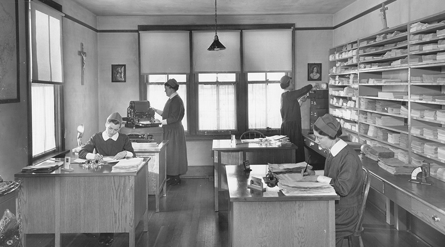 Sisters work in the office of the Religious Correspondence School, Edmonton