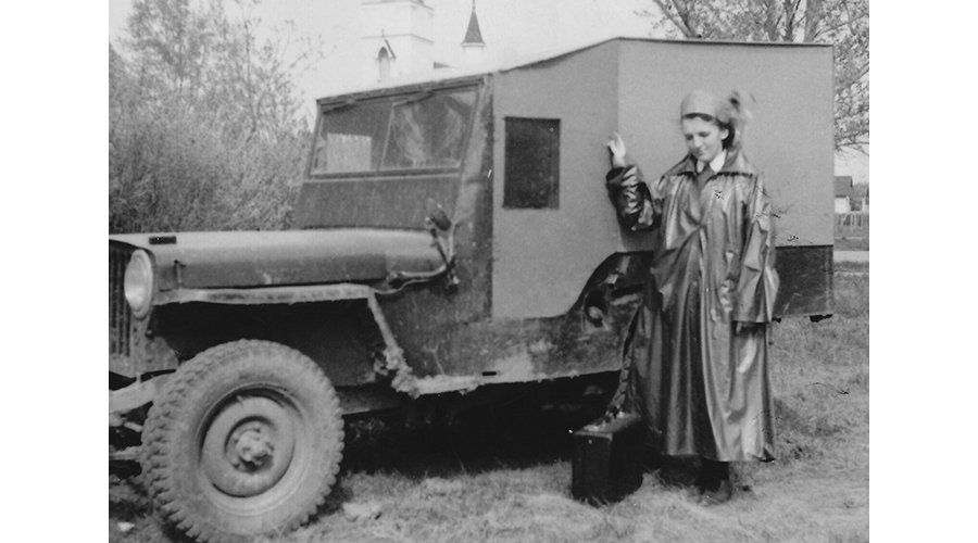Sister Eileen Bridgeo and jeep