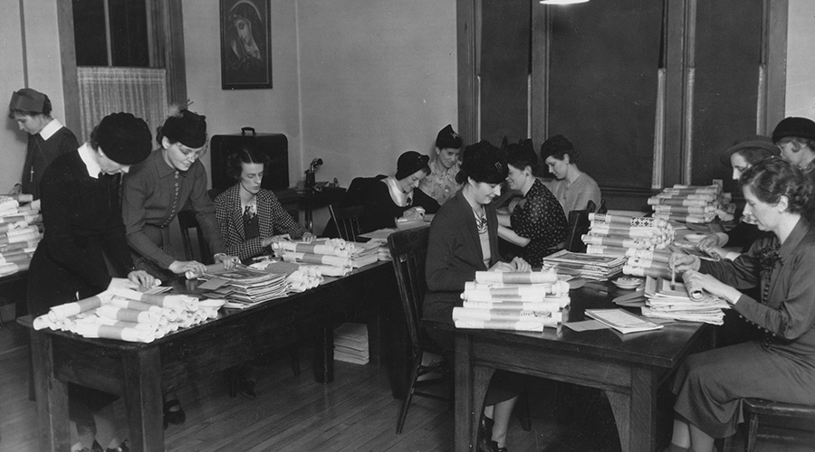 CWL members working at Religious Correspondence School in Regina